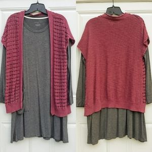 Mossimo Crotchet Layered Cardigan Tunic